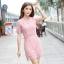 ชุดเดรสสวยๆ ผ้าถักโครเชต์ลายดอกไม้ สีชมพู ทรงตรง thumbnail 19