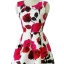 ชุดเดรสสั้น ผ้าคอตตอนผสม แขนกุด เนื้อเงาสวย พิมพ์ลายดอกกุหลาบแดงและชมพูเข้ม thumbnail 6