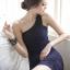DRESS ชุดเดรสแฟชั่นเกาหลี เข้ารูป เปิดไหล่ ตกแต่งช่วงอก สีน้ำเงินอมม่วง เซ็กซี่ สามารถใส่ออกงานได้ สวยมากๆ ครับ (พร้อมส่ง) thumbnail 4