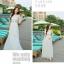 ชุดเดรสยาวสุดหรู แฟชั่นเกาหลีมาใหม่ ผ้าชีฟอง สีขาว อัดพลีตเล็กๆ ทั้งตัว thumbnail 9