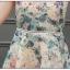ชุดเดรสแขนกุด ผ้าชีฟองเนื้อดี พื้นสีครีม ลายดอกไม้เหมือนแบบ thumbnail 9