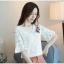 เสื้อผ้าลูกไม้ เนื้อดีเนื้อนิ่มสีขาว คอวี หน้าอกด้านซ้ายข้างคอเสื้อแต่งด้วยผ้าปักดอกไม้หลากสี thumbnail 4