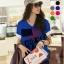 เสื้อยืดเกาหลี คอวี แขนเบิ้ล ลาย April 18 สีน้ำเงิน (Size M : 36 ) thumbnail 1