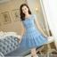 ชุดเดรสเกาหลี ผ้าไหมแก้ว สีฟ้า ปักด้วยด้ายลายดอกไม้ มีซับใน สวยมากๆ thumbnail 2