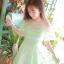 ชุดเดรสเจ้าหญิง ผ้าไหมแก้ว สีเขียว ปักลายดอกไม้สีเขียว thumbnail 4