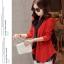 เสื้อผ้าไหมพรม แฟชั่นเกาหลี เนื้อบาง แขนยาว สีแดง thumbnail 3
