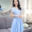 ชุดเดรสชีฟอง ผ้าเนื้อดีสีฟ้า คอเสื้อสวยมาก เป็นผ้าถักเย็บสลับกับผ้าโปร่ง thumbnail 1