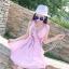 ชุดเดรสผ้าชีฟอง สีชมพูโอรส แขนกุด คอวี thumbnail 13