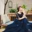ชุดราตรียาว ออกงาน ตัวเสื้อผ้าลูกไม้สีน้ำเงิน แขนยาวสามส่วน ด้านนอกของเสื้อผ้าลูกไม้ thumbnail 9