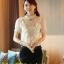 เสื้อผ้าเกาหลี Style good you เสื้อผ้าลูกไม้ สีครีมทอง แต่งระบายที่หน้าอก แขนตุ๊กตา คอติด มีซับในสวยเหมือนแบบครับ (เนื้อผ้าดี เกรด A) พร้อมส่ง thumbnail 1