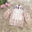 เสื้อผ้าลูกไม้ถัก สีชมพูโอรส แขนยาว คอเสื้อและปลายแขนเสื้อแต่งด้วยผ้าริบบิ้นรูปโบว์ thumbnail 8