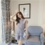 แฟชั่นเกาหลี set เสื้อและกางเกง ผ้าลูกไม้ถักลายใบไม้สีฟ้าอมเทา น่ารักมากๆ thumbnail 4