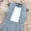ชุดเดรสลูกไม้ ผ้าเนื้อดีสีเทา แขนกุด รอบคอเสื้อและแขนเสื้อเป็นผ้าถักโครเชต์ลายตามแบบ thumbnail 10