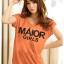 เสื้อยืดแฟชั่น ตัวยาว ผ้าเนื้อนิ่ม ลาย Maior สีส้ม ( ตัวยาว size เล็ก สำหรับสาวสะโพกไม่เกิน 38 นิ้ว) thumbnail 1