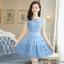 ชุดเดรสเกาหลี ผ้าไหมแก้ว สีฟ้า ปักด้วยด้ายลายดอกไม้ มีซับใน สวยมากๆ thumbnail 1
