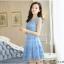 ชุดเดรสเกาหลี ผ้าไหมแก้ว สีฟ้า ปักด้วยด้ายลายดอกไม้ มีซับใน สวยมากๆ thumbnail 3
