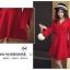 ชุดเดรสสีแดง ผ้าโพลีเอสเตอร์ผสม แขนยาว ดีไซน์เก๋ที่ปลายแขนเสื้อ thumbnail 4