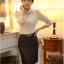 เสื้อทำงาน SL style เสื้อผ้าลูกไม้ สีครีมเนื้อนุ่ม มีซับใน คอเต่า แขนยาว พร้อมสร้อยคอเหมือนแบบ (พร้อมส่ง) thumbnail 3