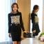 เสื้อผ้าคอตตอนผสม แฟชั่นเกาหลี สีดำ ยืดหยุ่นได้ แขนยาว ประดับ มุกสีขาว คริสตรัลใสสวยเก๋มากๆ thumbnail 3