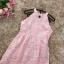 ชุดเดรสสวยๆ เดรสผ้าลายเกล็ดดอกไม้สีชมพูโอรส แขนกุด thumbnail 11