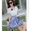 ชุดเดรสเกาหลี ตัวเสื้อผ้าชีฟองสีขาว แต่งคอถ่วง แขนเสื้อระบายเหมือนแบบ thumbnail 4