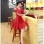 ชุดเดรสสั้น ผ้าชีฟอง ชนิดเนื้อทราย สีแดง thumbnail 5