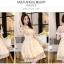 ชุดเดรสออกงาน ผ้ามุ้ง แฟชั่นเกาหลี ปักลายดอกไม้ สีครีม thumbnail 4