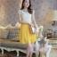 ชุดเดรสออกงาน น่ารัก แฟชั่นเกาหลี สีเหลือง เสื้อผ้าลูกไม้อย่างดี คอปกประดับมุก แขนกุด กระโปรงพลีทบาน ซิปข้าง มีซับใน ใส่ออกงานสวยมากๆครับ (พร้อมส่ง) thumbnail 2