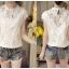 เสื้อผ้าผูกไม้สีขาว รอบคอเสื้อแต่งด้วยผ้าถักโครเชต์ หน้าอกเย็บซ้อนด้วยผ้าลูกไม้อีกลายนึง 2 ชั้น thumbnail 10