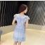 ชุดเดรสสวยๆ ผ้าลูกไม้ สีฟ้า เย็บทอผสมกับผ้าถักโครเชต์ที่ช่วงไหล่ thumbnail 9