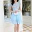 ชุดเดรสสวยๆ ตัวเสื้อผ้าลูกไม้ ปักสีฟ้า พิมพ์ลายดอกกุหลาบ thumbnail 4