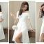 ชุดเดรสสวยๆ ผ้าคอตตอนผสมสีขาว ดีไซน์เก๋มากๆ เปิดไหล่ เข้ารูปช่วงเอว thumbnail 7