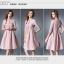 ชุดเดรสสวยๆ ผ้า poplin (ผ้าคล้ายผ้าไหม แต่มีลายในตัว) สีชมพูกะปิ thumbnail 7