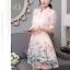 ชุดเดรสน่ารัก ตัวเสื้อผ้าไหมแก้ว organza สีขาวทอลายรูปร่มสีครีม และสีโอรส thumbnail 2