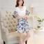 ชุดเดรสน่ารัก ตัวเสื้อผ้าชีฟองเนื้อดี สีขาว แขนเสื้อเก๋เป็นปีกผีเสื้อ thumbnail 4