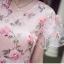 ชุดเดรสยาว ผ้าลูกไม้เนื้อนิ่ม ชนิดยืดหยุ่นได้สีชมพู คอวี thumbnail 10