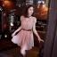 CHERRY DRESS ชุดเดรสคอจีน แฟชั่นผ้าชีฟอง สีชมพู ติดกระดุมหน้า แขนเสื้อแต่งระบายจับจีบ เอวเป็นยางยืด มีซับในทั้งตัว มาพร้อมเข็มขัดเข้าชุด ใส่ทำงาน น่ารัก Donut fashion (พร้อมส่ง) thumbnail 1