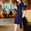 DRESS ชุดเดรสแฟชั่น คอวี เดรสแขนห้าส่วน เดรสใส่ไปทำงาน สีน้ำเงิน ผ้ายืด ใส่สบาย ดีไซด์เรียบเก๋ สามารถใส่ออกงานได้ น่ารัก thaishoponline thumbnail 4