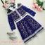 ชุดเดรสสวยๆ ผ้าลูกไม้ ทอลายดอกไม้ สีน้ำเงิน แขนยาวสี่ส่วน thumbnail 9