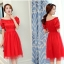ชุดเดรสสั้น แฟชั่นเกาหลี ผ้าซาติน สีแดง thumbnail 4