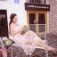ชุดเดรสยาว ผ้าไหมแก้ว organza สีชมพู ปักด้วยด้ายสีขาวครีม เดินเส้นด้ายทั้งชุด thumbnail 8