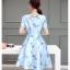 ชุดเดรสสีฟ้า เดรสทำงาน เดรสออกงาน ผ้าไหมสีฟ้า พิมพ์ลายนก เนื้อเงาสวย thumbnail 3