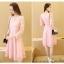 ชุดเดรสสวยๆ สีชมพู เดรสผ้าลูกไม้สีชมพู แขนยาว เนื้อดีมากๆ thumbnail 4