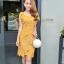 ชุดเดรสสวยๆ ผ้าถักรูปดอกไม้ สีเหลืองมัสตาร์ต เดรสทรงตรง เข้ารูปช่วงเอว thumbnail 4