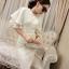 ชุดเดรสสวยๆ ผ้าคล้ายผ้าไหมพรม ยืดหยุ่นได้ดี ลายเส้นสีขาว แขนเสื้อระบาย 2 ชั้น ทรงตรง thumbnail 5