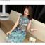ชุดเดรสสวยๆ ผ้าคอตตอนทอ แขนกุด พิมพ์ลายกราฟฟิกตามแบบ โทนสีเขียว thumbnail 12