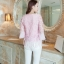 เสื้อผ้าถักลายดอกไม้ สีชมพู แฟชั่นเกาหลี แขนยาวสี่ส่วน thumbnail 7