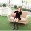 เสื้อไหมพรม ขนฟู สีดำ แขนยาว แฟชั่นเกาหลี คอเสื้อและไหล่แต่งด้วยผ้าลูกไม้ลายดอกไม้ thumbnail 5