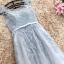 ชุดราตรียาว ออกงานสุดหรูสวยสุดๆ ตัวเสื้อเป็นผ้ามุ้งปักลายดอกไม้สีเทา thumbnail 9