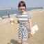 DRESS ชุดเดรสแฟชั่นเกาหลี แขนสั้น ผ้าคอตตอน ลายทาง ขาว ดำ คอกลม ใส่ทำงาน เที่ยว เชือกผูกเอวติดกับลำตัว สวย น่ารักมากๆ ครับ thaishoponline (พร้อมส่ง) thumbnail 1